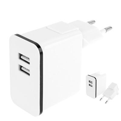 5v 2.1a Reislader met dubbele USB poort voor ipad 4 / ipad 3 / ipad mini / mini 2 retina / iphone 5 / ipod touch 5 / iphone 4 & 4s (EU stekker)