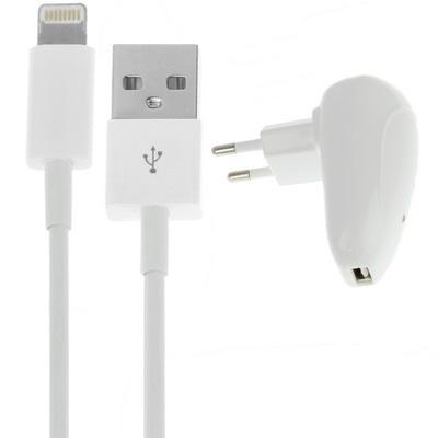 2 in 1 (EU stekker thuislader, USB kabel) reisset voor iphone 5/5s/5c, ipod touch 5, ipad mini / mini 2 retina, ondersteunt IOS 7