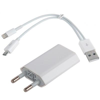 Afbeelding van 2 in 1 (EU stekker thuislader + USB 2.0 iphone 8 pin, micro USB ) geschikt voor alle iphone en ipads met 8 pin en alle micro-USB toestellen