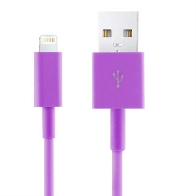 Kleurrijke USB Data Transfer / laad Sync Kabel voor iPhone 6 / 6S & 6 Plus / 6S Plus, iPhone 5 & 5S & 5C, iPad Air, iPad mini, mini 2 Retina, Lengte: 2 meter (paars)
