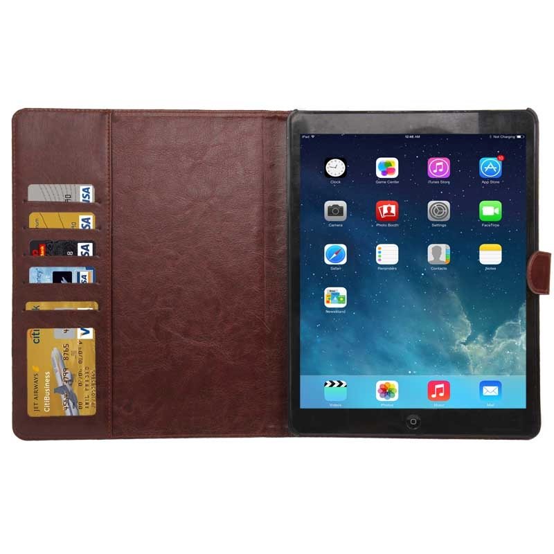 Denim structuur lederen hoesje met opbergruimte voor pinpassen opberg vakjes & houder met houder voor iPad 4 / iPad New (iPad 3) / iPad 2 (Baby blauw)