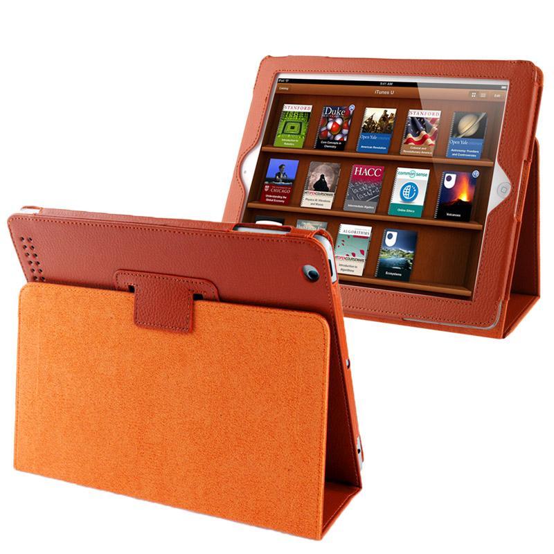 Hoge kwaliteit Litchi structuur PU leren flip hoesje met slaap / ontwaak functie voor iPad 2 / iPad 3 / iPad 4 (Oranje)