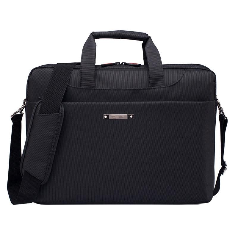 Afbeelding van 15.6 inch draagbare één schouder waterdicht Nylon laptoptas zwart (301#)(Black)