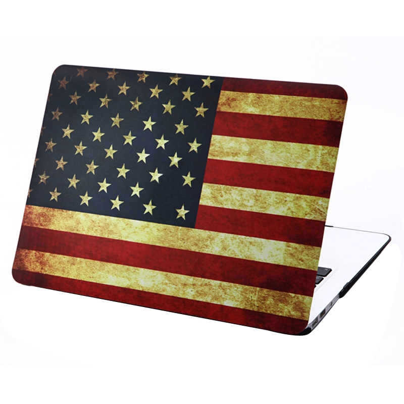 MacBook Air 13.3 inch Retro USA Vlag patroon hard Kunststof Hoesje / Case