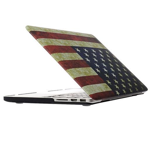 MacBook Pro Retina 13.3 inch Retro USA vlag patroon hard Kunststof Hoesje / Case