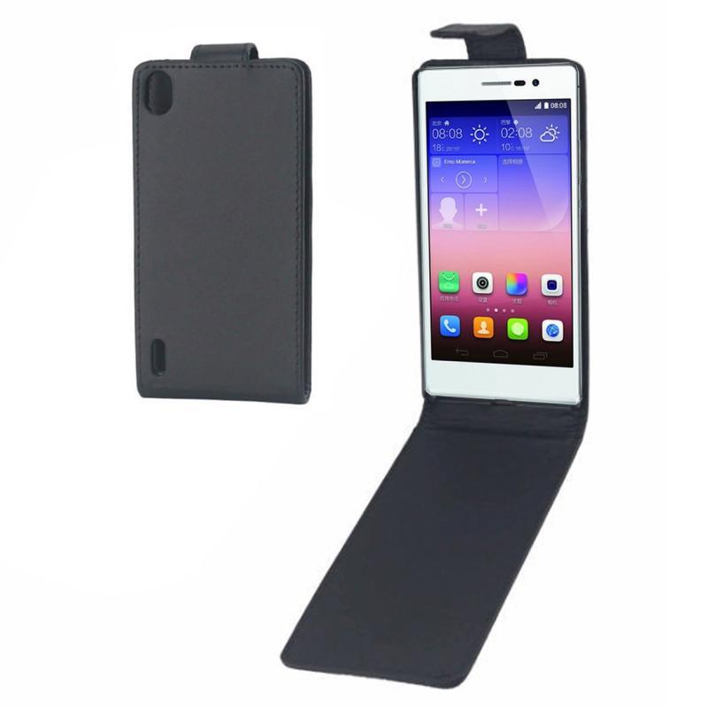 Huawei Ascend P7 beschermend vertikaal PU leren Flip Hoesje (zwart)