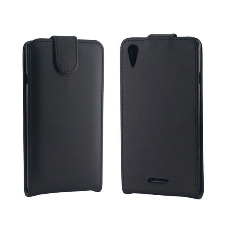 Vertical Flip lederen hoesje voor Sony Xperia T3 / M50W(zwart)