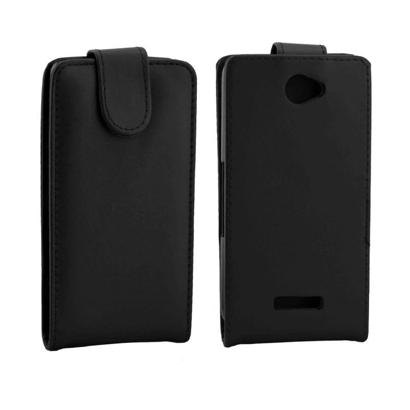 Vertical Flip Magnetic Snap lederen hoesje voor Sony Xperia E4(zwart)
