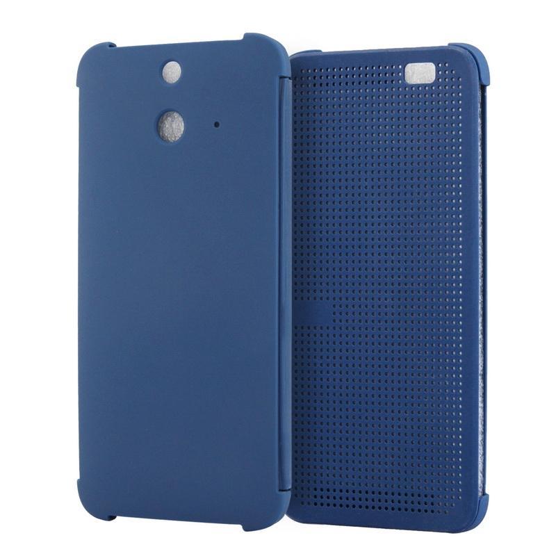 HTC One E8 horizontaal Gaatjes structuur Kunststof Flip Hoesje met slaap / ontwaak functie (donker blauw)
