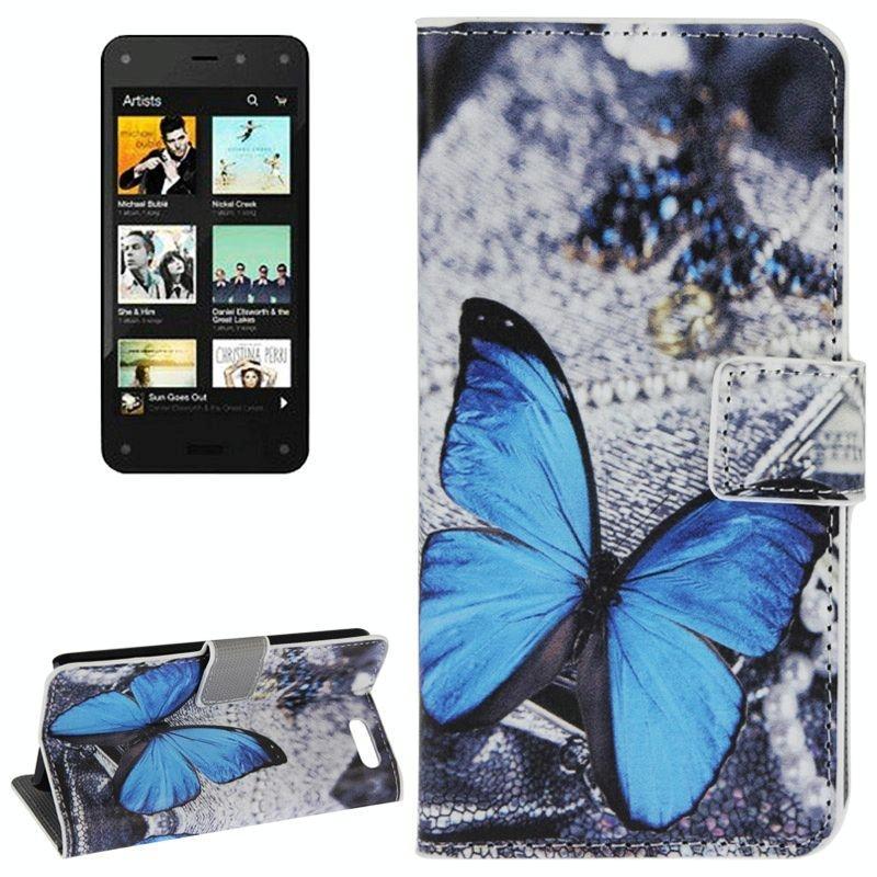 Afbeelding van Amazon Fire Phone horizontaal Blauw vlinder patroon PU leren Flip Hoesje met houder en opbergruimte voor pinpassen & geld