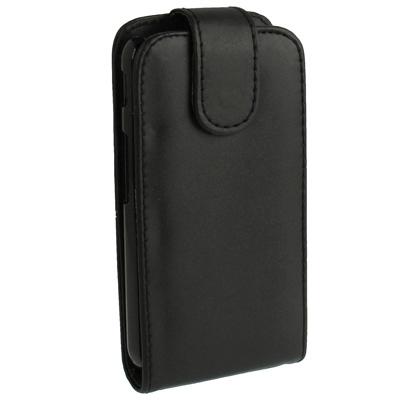 Pure Kleur Vertical Flip lederen hoesje voor LG Optimus L7 II / P715 (zwart)