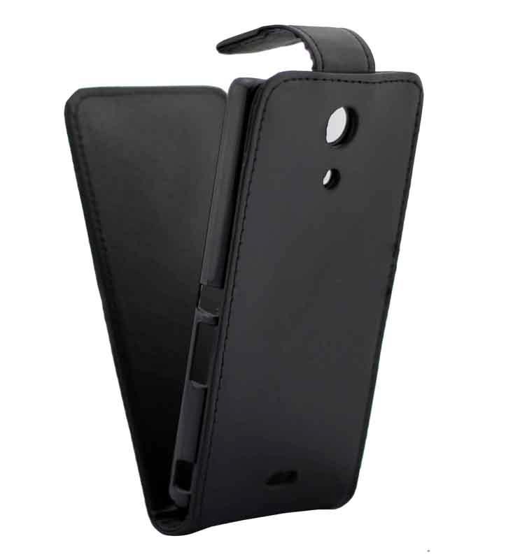 Vertical Flip lederen hoesje voor voor Sony Xperia ZR / M36h(zwart)