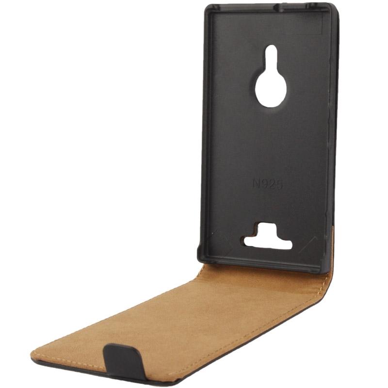 Vertical Flip lederen hoesje voor Nokia Lumia 925 (zwart)