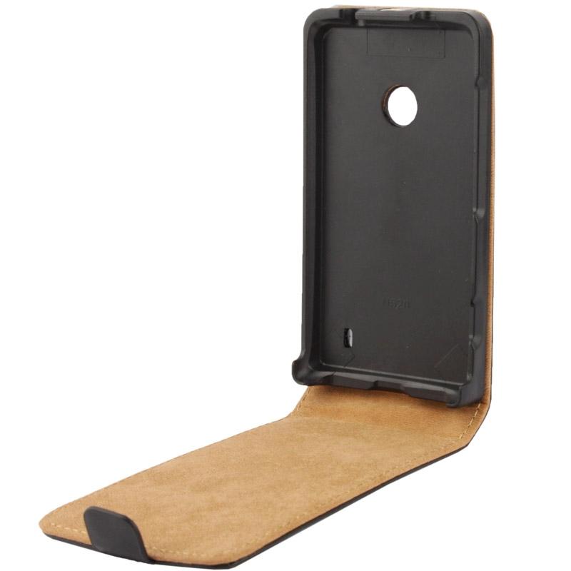 Vertical Flip lederen hoesje voor Nokia Lumia 520 (zwart)