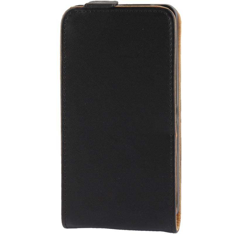 Vertical Flip lederen hoesje voor Sony Xperia ZR / M36H / C5502 (zwart)