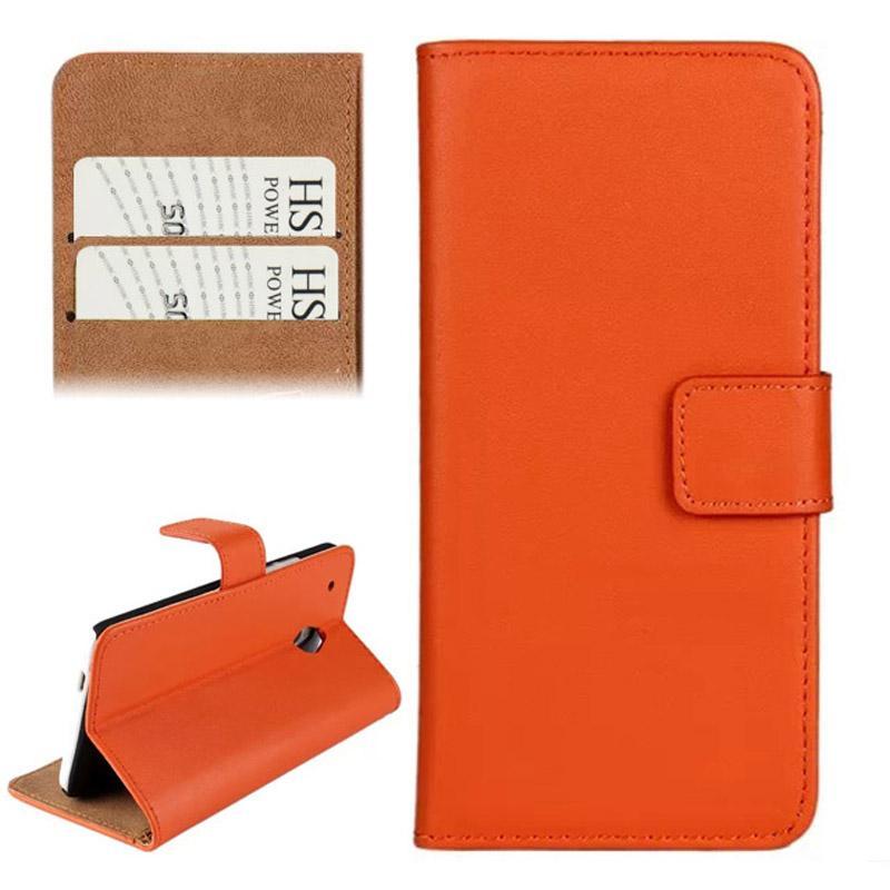 horizontaal Flip Top-grain lederen hoesje met opbergruimte voor pinpassen & houder voor HTC One mini / M4 (Oranje)