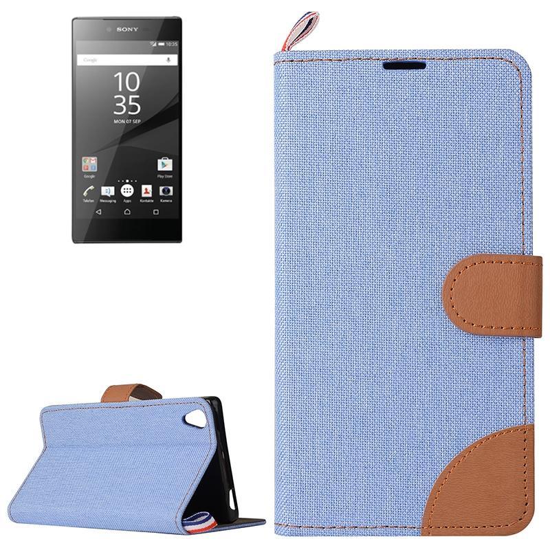 Sony Xperia Z5 Premium / Plus horizontaal Tweekleurig Jeans structuur PU leren Flip Hoesje met houder, magnetische sluiting en opbergruimte voor pinpassen (blauw)