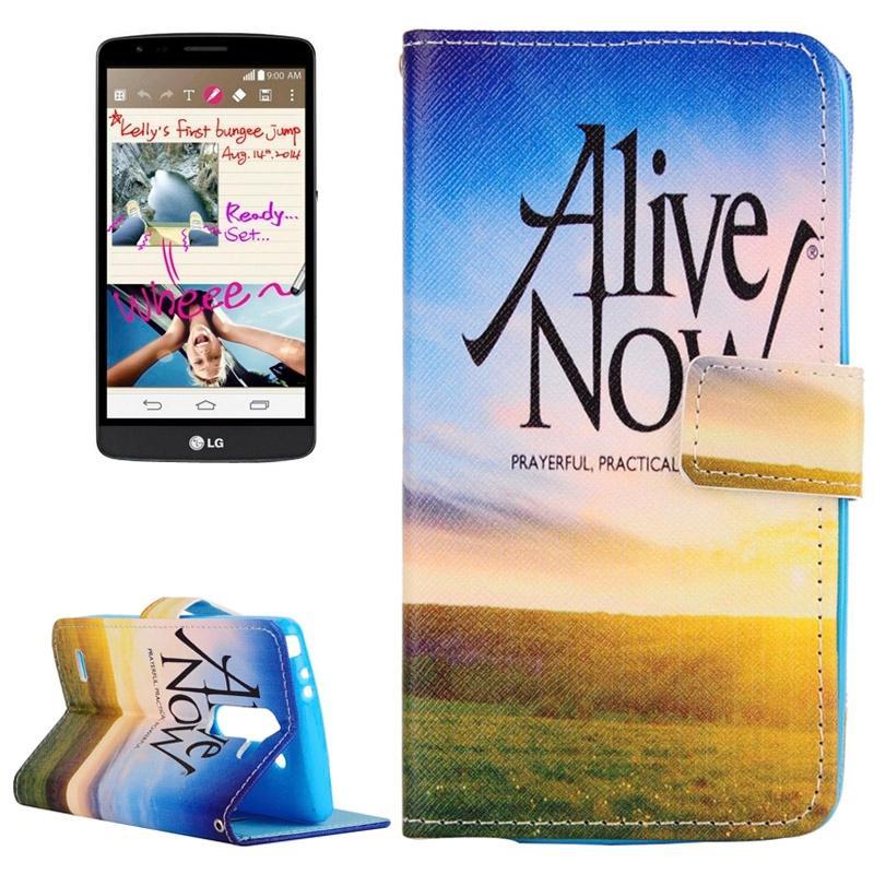 LG G3 Stylus / D690 horizontaal Alive Now patroon PU leren Flip Hoesje met houder en opbergruimte voor pinpassen & geld