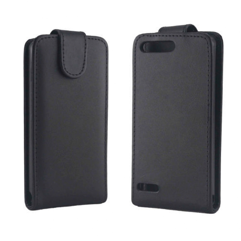 Huawei Ascend G6-T00 3G / P6 Mini beschermend vertikaal PU leren Flip Hoesje (zwart)
