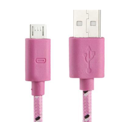 Geweven Nylon stijl micro 5 pin USB data transfer / laad kabel voor samsung galaxy s iv / i9500 / s iii / i9300 / note ii / n7100 / nokia / htc / blackberry / sony, lengte: 1 meter (roze)