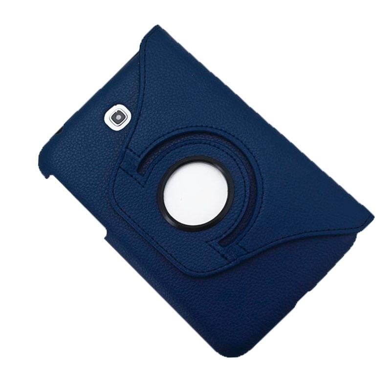360 graden draaibaar Lichi structuur lederen hoesje met houder &  opbergruimte voor pinpassen opberg vakjes voor Samsung Galaxy Tab 3 (7.0) / P3200(donker blauw)