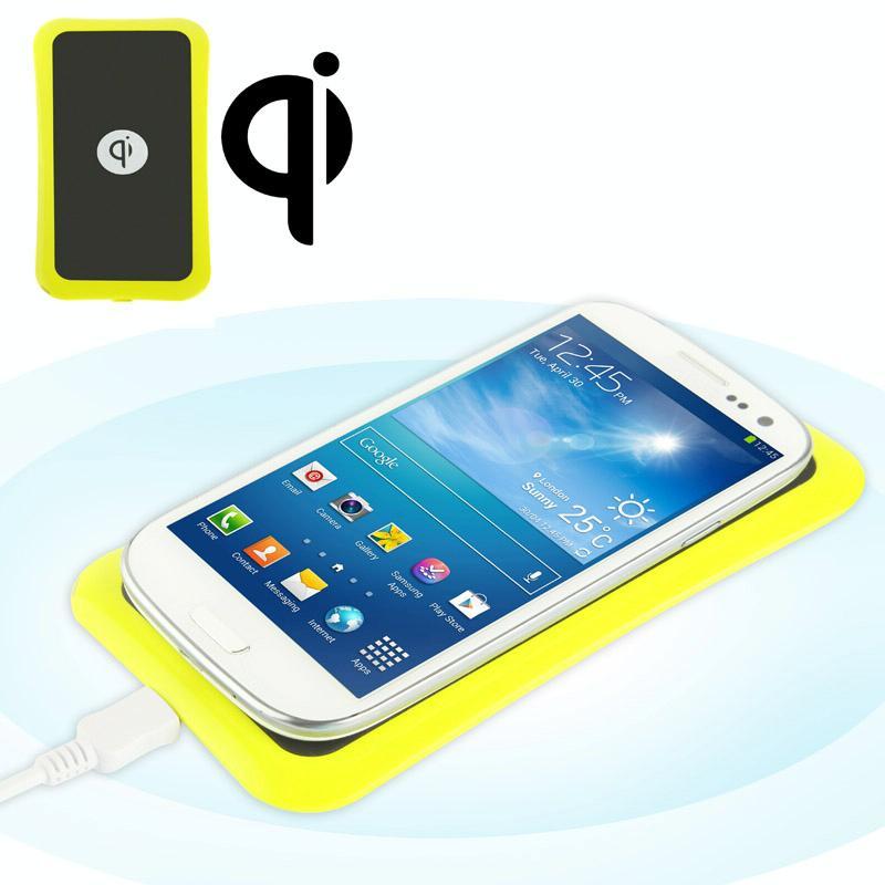 K8 Geel Pure Power Qi Standaard Ultra Slim Draadloos oplaad plaat mat, Geschikt voor Nokia Lumia 920 / 1020 Samsung Galaxy Note II / N7100 etc.