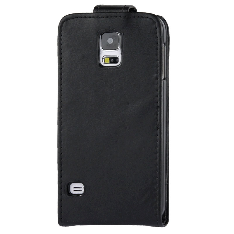 Vertical Flip lederen hoesje met opbergruimte voor pinpassen opberg vakje voor Samsung Galaxy S5 / G900(zwart)