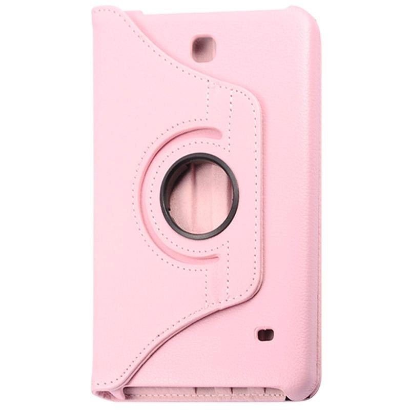 360 graden draaiend Litchi structuur lederen hoesje met houder voor Samsung Galaxy Tab 4 8.0 / SM-T330(roze)