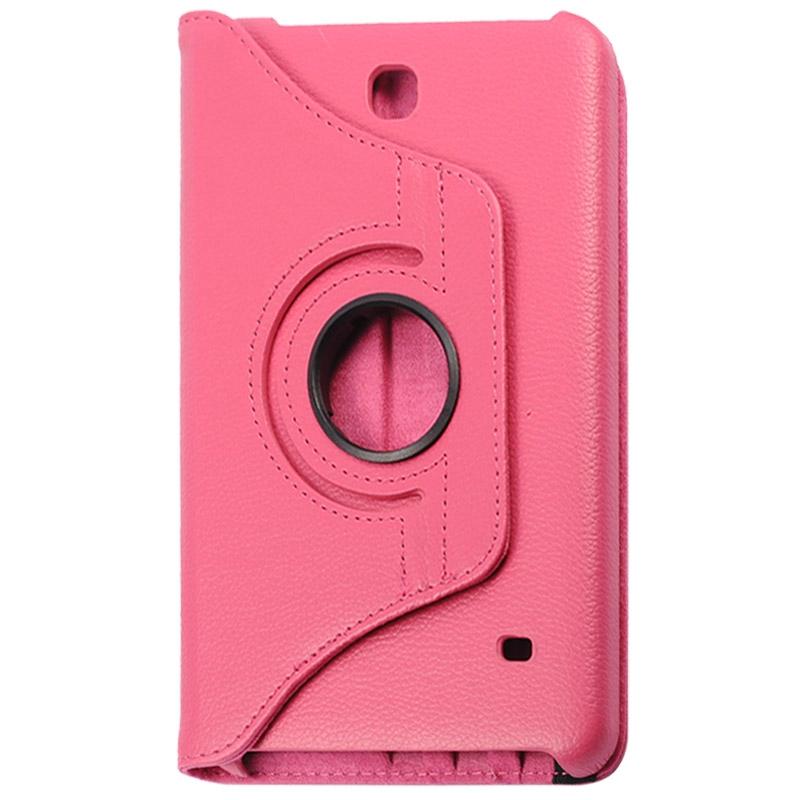 360 graden draaiend Litchi structuur lederen hoesje met houder voor Samsung Galaxy Tab 4 8.0 / SM-T330(hard roze)