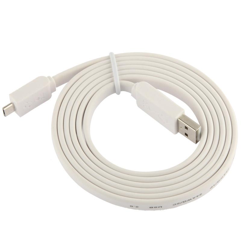 Platte Noodle Stijl Micro 5 Pin USB Data Transfer / laad Kabel, geschikt voor Samsung Galaxy S6 / S IV / i9500, HTC One / M7, Nokia Lumia 925 / 920 / 520, LG Optimus G Pro, Lengte: 1.5 meter wit