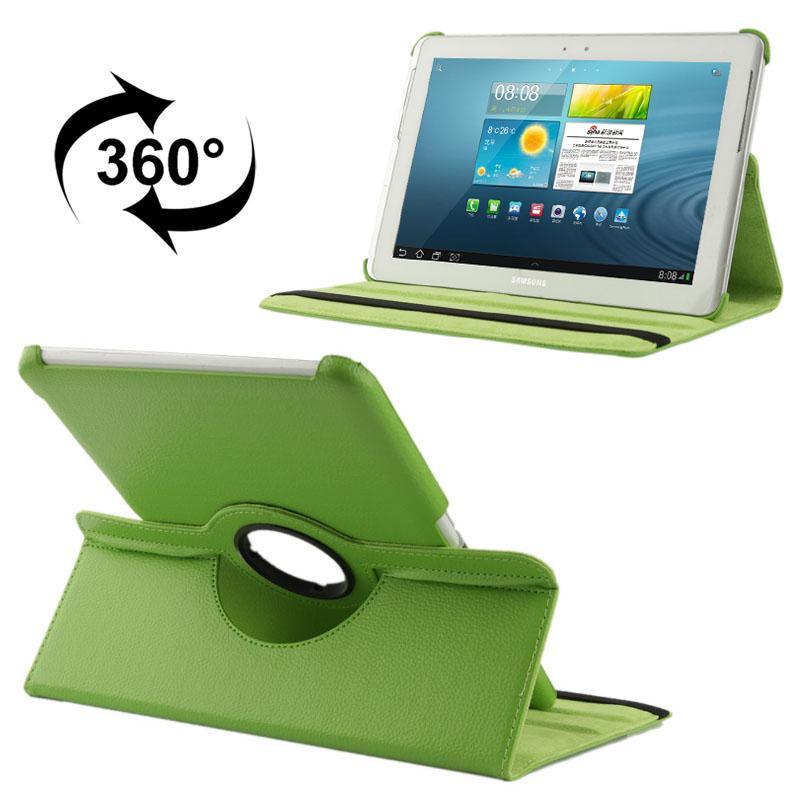 360 graden draaiend Litchi structuur lederen hoesje met houder voor Samsung Galaxy Tab 2 (10.1) / P5100(groen)