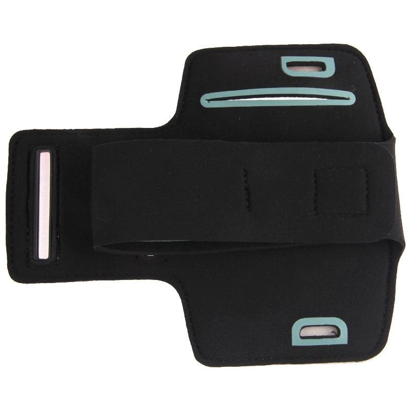 Universeel PU leren sport armband Hoesje met opening koptelefoon aansluiting voor o.a. iPhone 8 / 7 / 6, Samsung Galaxy S5 / S4 / S3 (zwart)