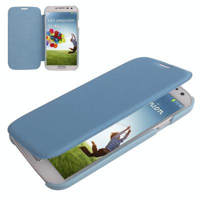 Samsung Galaxy S IV / i9500 Kruis structuur PU Leren + kunststof Flip Hoesje (baby blauw)