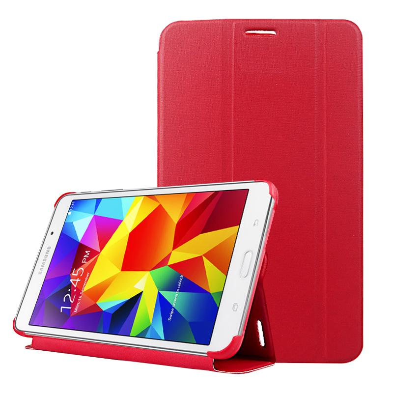 2-vouw golf structuur Flip lederen hoesje met houder & slaap / wekker functie voor Samsung Galaxy Tab 4 8.0 / T330(rood)