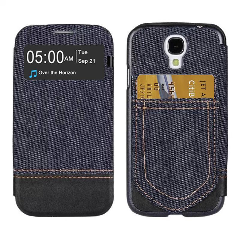 Jeans Style Flip lederen hoesje met opbergruimte voor pinpassen opberg vakjes & Oproepweergave ID voor Samsung Galaxy S IV / i9500(zwart)