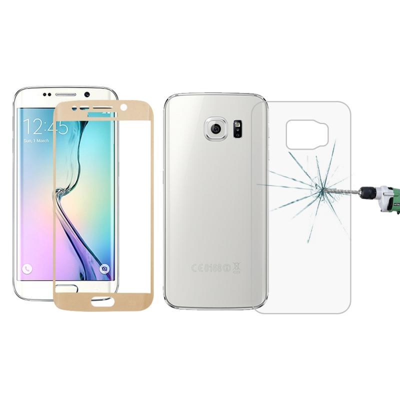 Afbeelding van 0.3mm 9H oppervlakte hardheid 3D gebogen oppervlak Full Screen Cover explosieveilige voorkant + achterkant getemperd glas Film voor Galaxy S6 edge(Gold)
