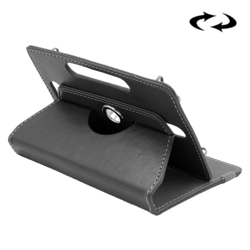 Afbeelding van Samsung Galaxy Tab 4 7.0 inch / T230 / T231 & Tab 3 Kids T2105 & Tab Q T2558 Colorfly G708 Asus ZenPad 7.0 Z370CG Huawei MediaPad T1 7.0 Crazy Horse structuur 360 graden draaiend Universeel ENKAY 7 inch PU leren Hoesje (zwart)