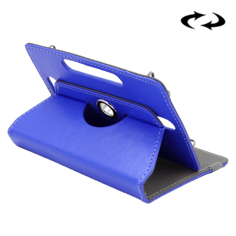 Afbeelding van Samsung Galaxy Tab 4 7.0 inch / T230 / T231 & Tab 3 Kids T2105 & Tab Q T2558 Colorfly G708 Asus ZenPad 7.0 Z370CG Huawei MediaPad T1 7.0 Crazy Horse structuur 360 graden draaiend Universeel ENKAY 7 inch PU leren Hoesje (donker blauw)