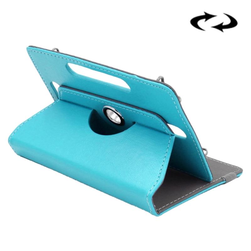 Afbeelding van Samsung Galaxy Tab 4 7.0 inch / T230 / T231 & Tab 3 Kids T2105 & Tab Q T2558 Colorfly G708 Asus ZenPad 7.0 Z370CG Huawei MediaPad T1 7.0 Crazy Horse structuur 360 graden draaiend Universeel ENKAY 7 inch PU leren Hoesje (blauw)