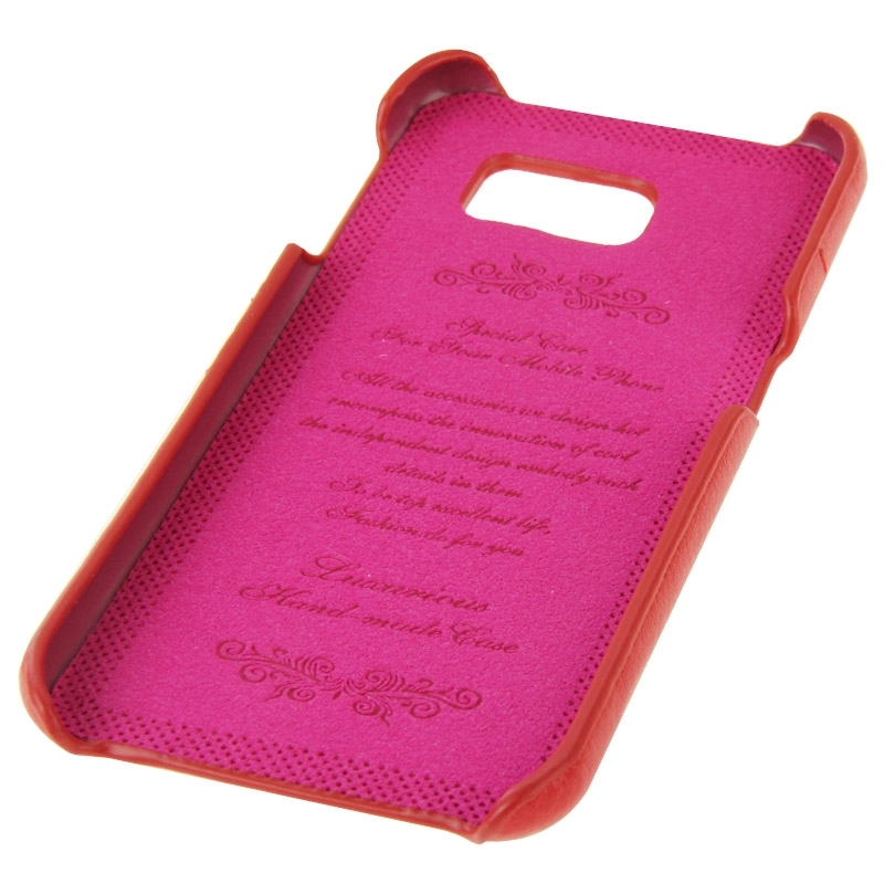 For Galaxy S6 Edge / G925 Litchi Texture Genuine Leather Back Cover Case with Card Slots and Fashion Logo (Red)