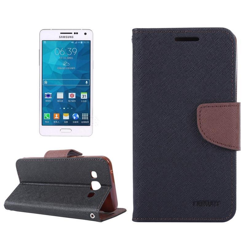 Samsung Galaxy A3 / A300 horizontaal Tweekleurig Kruis structuur PU leren MERCURY Flip Hoesje met houder en opbergruimte voor pinpassen & geld (zwart + bruin)