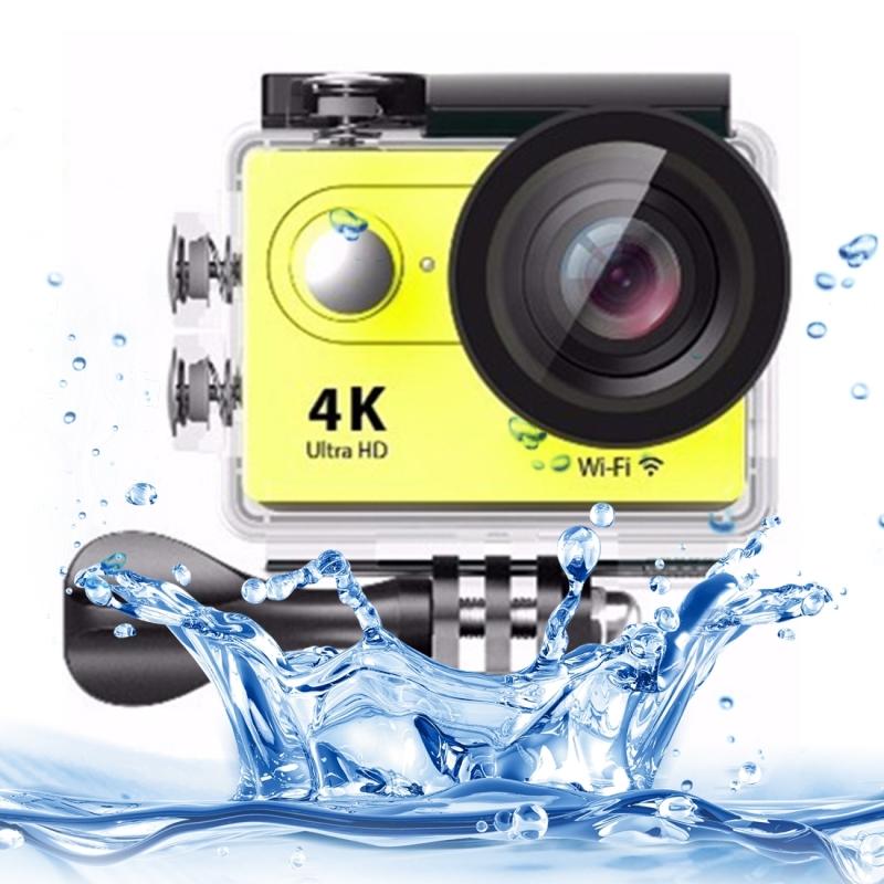 H9 4K Ultra HD1080P 12MP 2 inch LCD scherm WiFi Sport Camera, 170 graden brede hoeklens, 30m Waterdicht(geel)