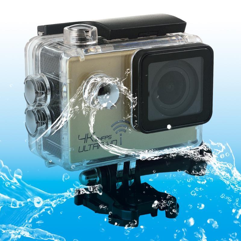 SJ8000 WiFi Novatek 96660 Ultra HD 4K 2.0 inch LCD sport Camcorder met waterdichte geval 170 graden brede hoeklens 30m Waterproof(Gold)