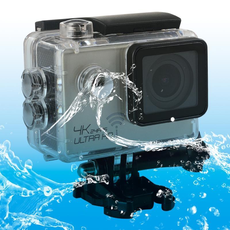 SJ8000 WiFi Novatek 96660 Ultra HD 4K 2.0 inch LCD sport Camcorder met waterdichte geval 170 graden brede hoeklens 30m Waterproof(Silver)