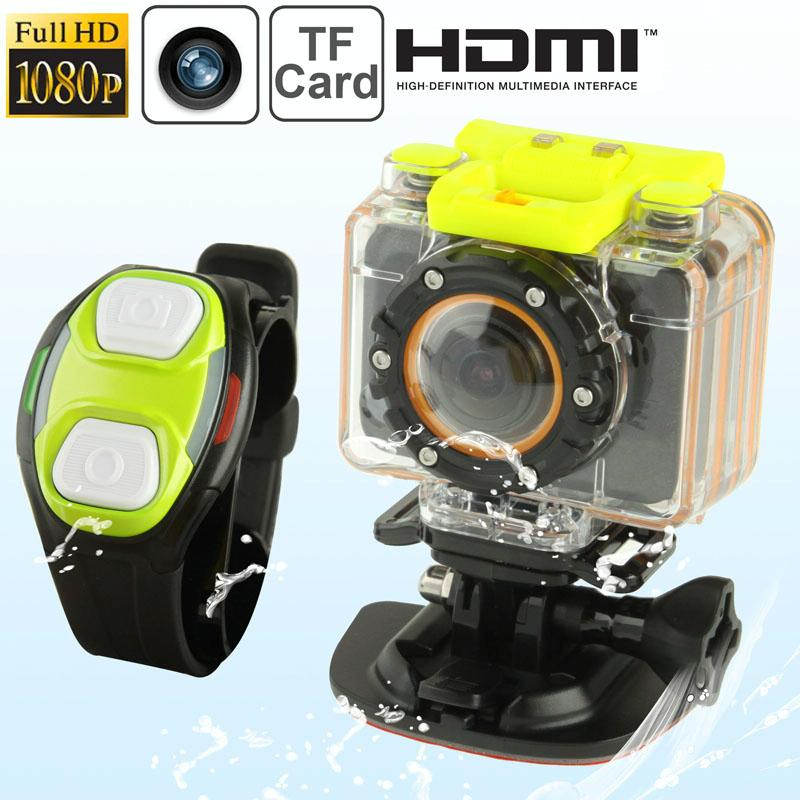 F20 Full HD 1080P Sport Camcorder ontmoet Waterdicht hoesje & pols riem Remote Control afstandsbediening,, 5.0 Mega CMOS-Sensor, 30m Waterdicht