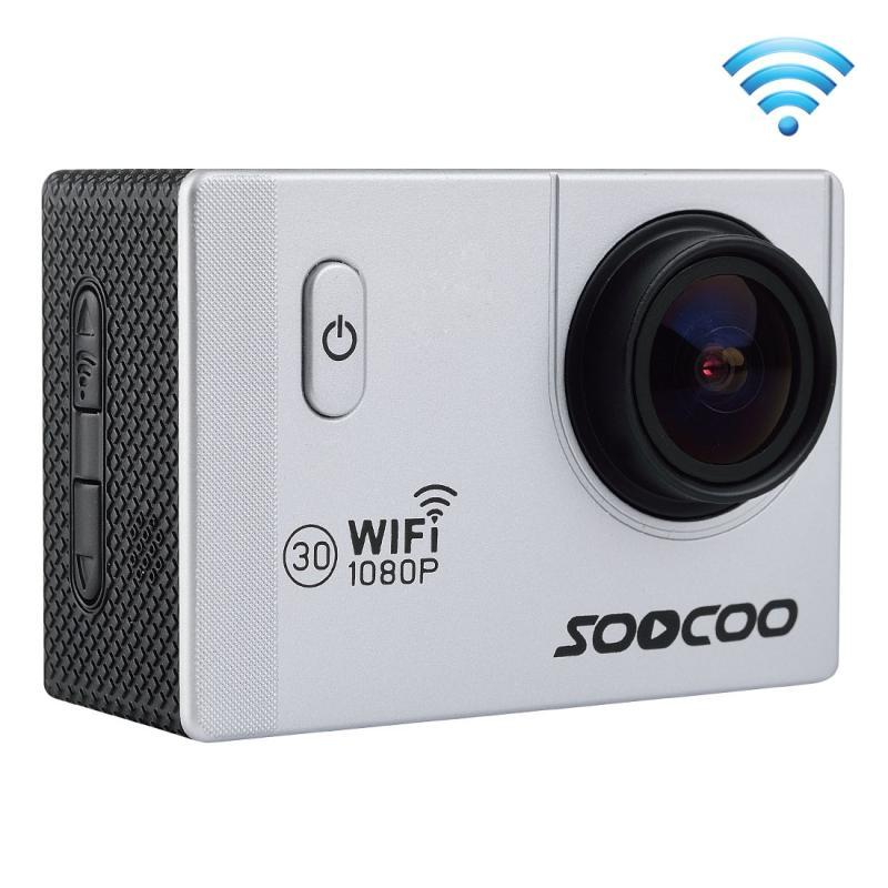 SOOCOO C10S HD 1080P NTK96655 2.0 inch LCD scherm WiFi sport Camcorder ontmoet Waterdicht hoesje, 170 graden brede hoeklens, 30m Waterdicht(zilver)