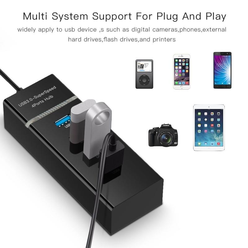 Afbeelding van 4 Poorts USB 3.0 HUB super snel 5Gbps Plug en Play met LED Power Indicator BYL-P104 (zwart)