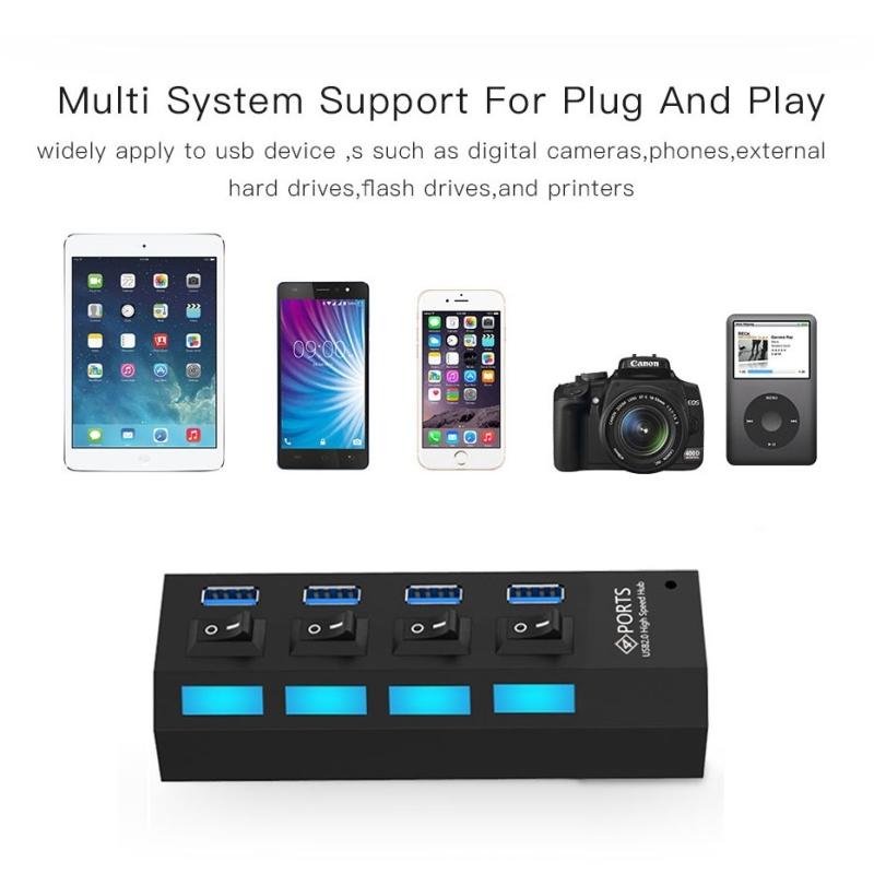Afbeelding van 4 Poorts USB 3.0 HUB super snel 5Gbps Plug en Play ondersteunt 1TB (zwart)