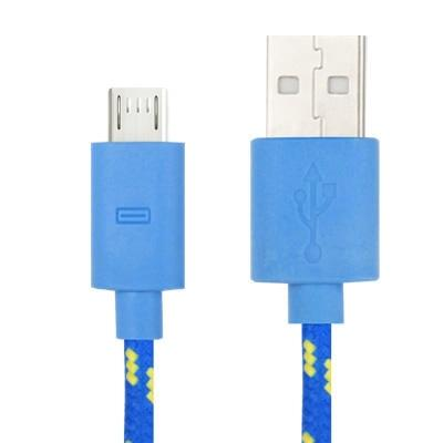 Geweven Nylon stijl micro 5 pin USB data transfer / laad kabel voor samsung galaxy s iv / i9500 / s iii / i9300 / note ii / n7100 / nokia / htc / blackberry / sony, lengte: 3 meter (baby blauw)