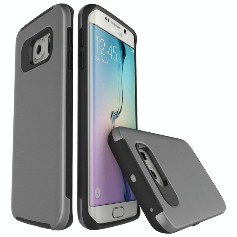 Voor de Galaxy S6 Edge / G925 Simple geborsteld textuur 2 in 1 PC + TPU combinatie beschermhoes (grijs)